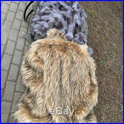 Arka/anorak full lenght opening Italian camo gray or beige fur