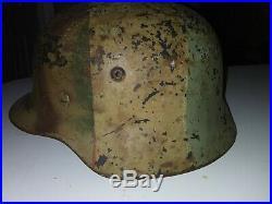 Authentic m35 Et66 Tri Color Ww2 German Millitary Helmet all original. Full name