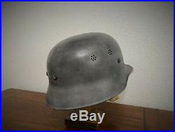GENUINE POST-WAR GERMAN HELMET with WAFFEN M1942 TYPE II OAK B CAMO COVER