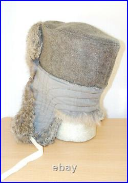 GERMAN ARMY WW2 REPRO EAST FRONT REAL RABBIT FUR USHANKA HAT Sz58 7 1/4
