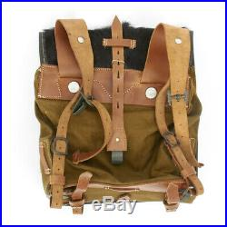 German WWII Tornister 34 Cowhide Backpack with Shoulder Straps