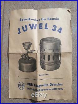 Gustav Barthel vintage JUWEL34 camping stove benzin kocher in original paper box