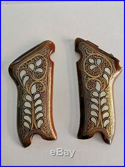 LUGER P08 GRIP SET-GRIPS SET-WALNUT WOOD-Mother of pearl handcrafted