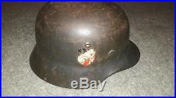 M35 WWII German Luftwaffe Helmet (F. W. Quist) Single-Decal. Q64/312 Badge/Lot