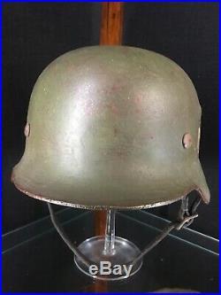 Original (Rare) WWII German Army M35 Double Decal Apple Green Steel Helmet