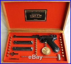 PISTOL GUN PRESENTATION CUSTOM DISPLAY CASE BOX for LUGER P08 ARTILLERY 8 inch