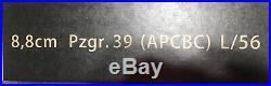 Pig Model WW2 Germany 8.8cm 88mm Pzgr. 39 (APCBC) L/56 Armor Piercing Gun Shell