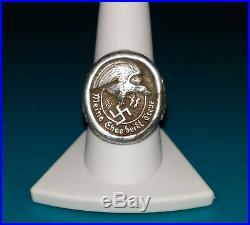 SILVER RING GERMAN MEINE EHRE heißt TREUE MY HONOR CALLED LOYALTY RARE WW2 BIN