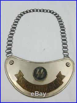 SS Steifendienst Gorget with chain, WW2, German Gorget, Rare