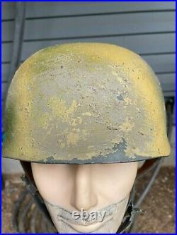 Sawdust Camo WW2 German M38 FJ Paratrooper Helmet At The Front Repro