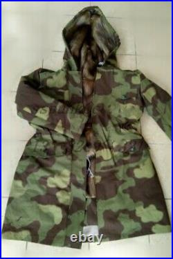 Size XXL WW2 GERMAN ARMY M43 ITALIAN CAMO RABBIT FUR WINTER PARKA GREAT COAT