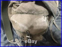 Super Rare Post-ww2 German Army Heer Elite Mountain Unit Rucksack Canvas Leather