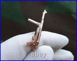 UNIQUE 14K GOLD Pendant Necklace MP 40 WW2 WWII Wehrmacht German Submachine Gun