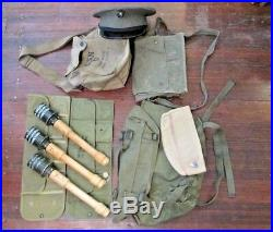 US WW II badge pack cartridge pouch USN gas mask 3 German practice stick grenade