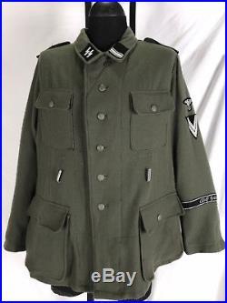 VTG WW2 German M43 Field Jacket Grey Wool Tunic Repro