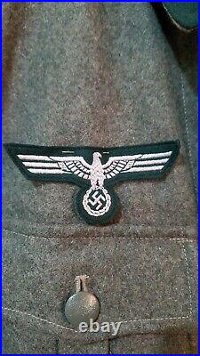 Vintage Repro WW2 German Wool Tunic Wehrmacht Military Jacket Dark Green with Pin
