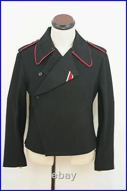 WW2 German Heer hot pink collar thread panzer black wool wrap/jacket