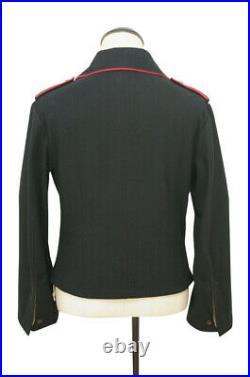WW2 German Heer hot pink collar thread panzer black wool wrap/jacket XL