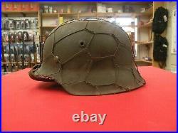 WW2 German M42 Chicken wire helmet nice with camo paint Original