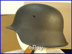 WW2 German M42 helmet EF68 Original shell, repro paint & liner