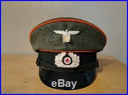 WW2 German NCO Feldgendarmerie Visor Cap Size 61 (7 5/8)