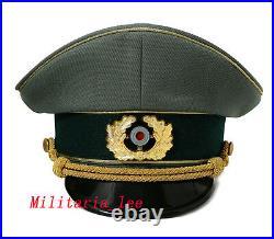 WW2 German Repro Heer General Field Gray Gabardine Visor Cap All Sizes