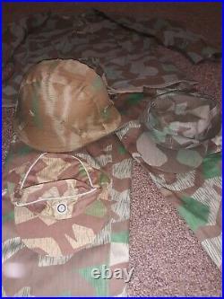 WW2 German Splinter Camo Smock Trousers Field Caps Helmet Cover Heer Luftwaffe