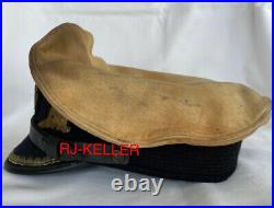 WW2 German U-boat Navy Military Captains Officers Visor Hat Cap 2 Covers(AGED)