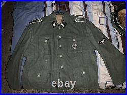WW2 German Waffen SS M43 Tunic, Sturmscharfuher Collar Tabs And Iron Cross