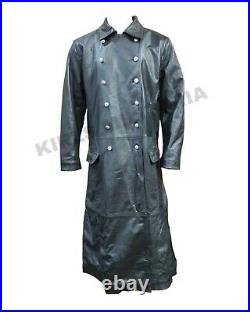 WW2 Officer Military Uniform Black Leather Trench Coat Jacket
