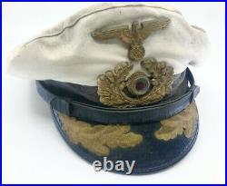 WW2 Reproduction Weathered German U-boat Kriegsmarine Officers Visor Hat MGM