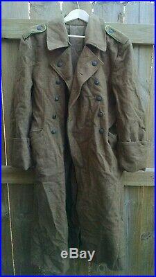 WWII GERMAN AFRIKA KORPS M40 WOOL GREATCOAT Sz 38/40