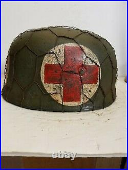 WWII GERMAN M38 Medic Paratrooper HELMET WithHand Aged Paint Work and Liner
