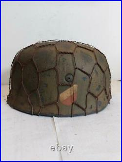 WWII GERMAN M38 Paratrooper Chickenwire HELMET WithHand Aged Paint Work and Liner