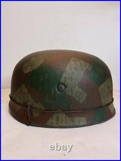 WWII GERMAN M38 Paratrooper Splinter camo HELMET WithHand Aged Paint Work & Liner