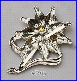 WWII GERMAN OFFICER EDELWEISS MOUNTAIN METAL CAP BADGE INSIGNIA