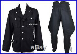 WWII German Elite M32 Officer Black Wool Tunic And Breeches Military Uniform S