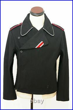 WWII German Elite officer panzer black wool wrap/jacket S