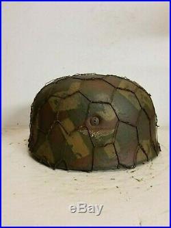 WWII German Fallschirmjager Splinter Camo Chickenwire Paratrooper Helmet