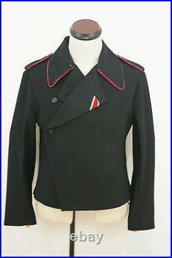 WWII German Heer hot pink collar thread panzer black wool wrap/jacket 2XL