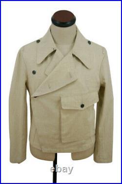 WWII German Heer panzer summer HBT off-white wrap/jacket type II XL