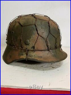 WWII German M35 Chicken wire Camo Helmet