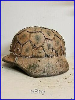WWII German M35 Chicken wire Half basket Winter Camo Helmet