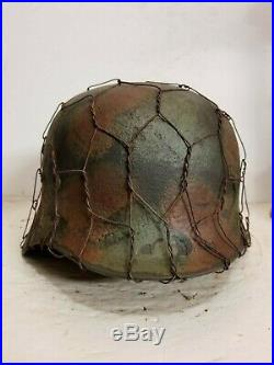 WWII German M35 Chicken wire Normandy Camo Helmet