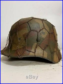 WWII German M35 Chicken wire Splinter Camo Helmet