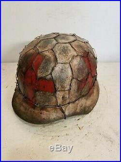 WWII German M35 Normandy AgedWinter Medic Chickenwire Helmet
