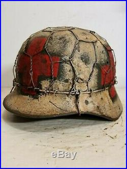WWII German M35 Normandy Aged Winter Medic Chickenwire Helmet