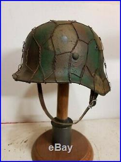 WWII German M35 Normandy Chickenwire Helmet
