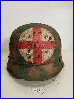 WWII German M35 Summer Camo Medic Helmet