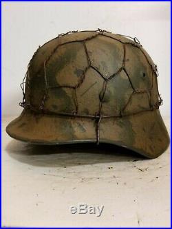 WWII German M35 Turtle Shell Camo Half Basket Chickenwire Helmet